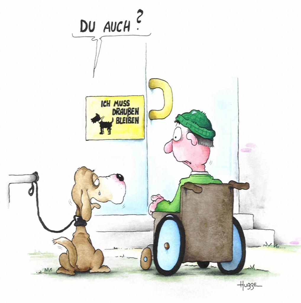 """Der Cartoon zeigt einen angeleinten Hund vor dem Schild """"Ich muss draussen bleiben"""","""