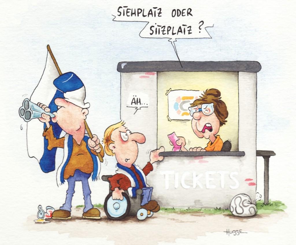 """Der Cartoon zeigt einen Fußballfan im Rollstuhl vor dem Ticketschalter. Er wird gefragt: """"Stehplatz oder Sitzplatz?"""""""